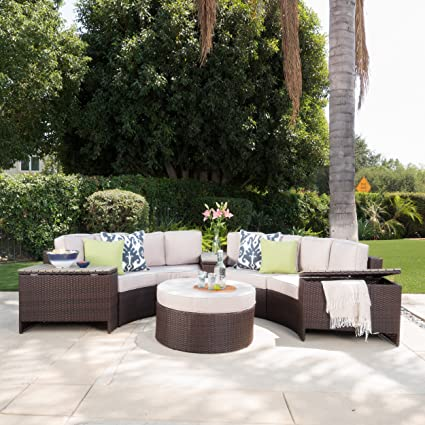 Riviera Otranto Outdoor Patio Furniture Wicker 8 Piece Semicircular  Sectional Sofa Seating Set W/Waterproof