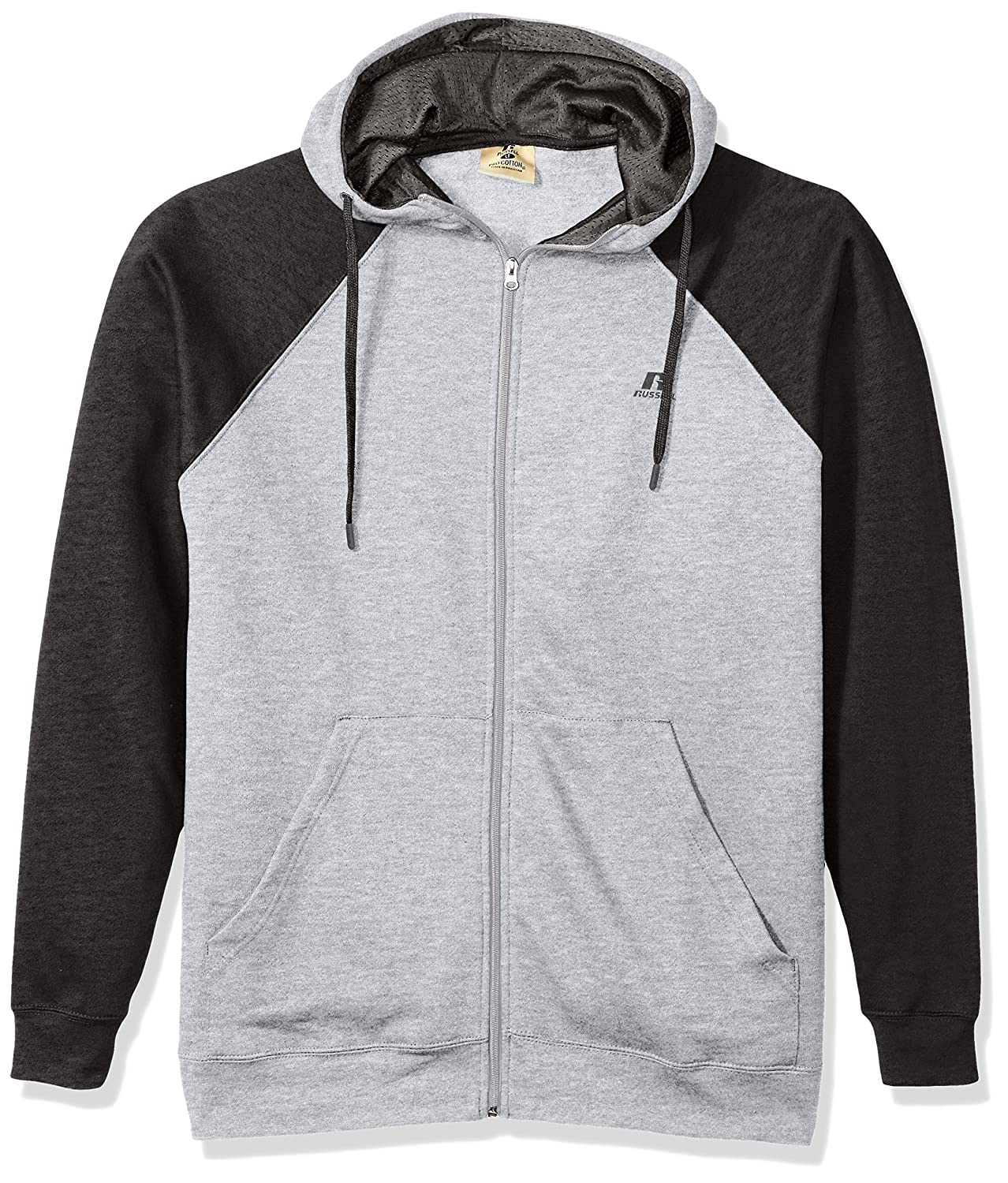 Russell Athletic Mens Big and Tall Full Zip Raglan Hood with Drawstring