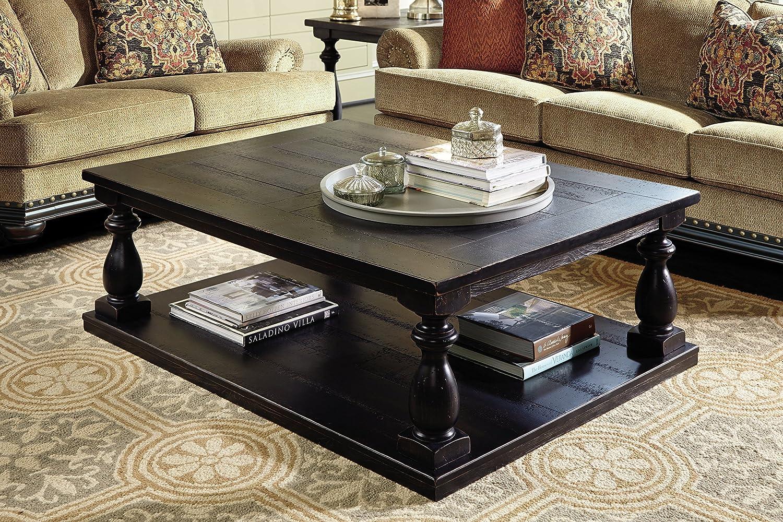 Ashley Furniture Signature Design – Mallacar Coffee Table – Cocktail Height – Rectangular – Black