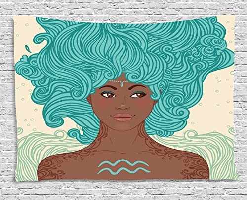 Ambesonne Zodiac Aquarius Tapestry, Lady Beauty Girl Fantasy Portrait Portrait, Wide Wall Hanging for Bedroom Living Room Dorm, 60 X 40 , Green Brown