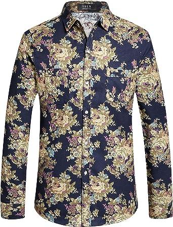 SSLR Camisa Estampado Floral Manga Larga Casual de Algodón para Hombre: Amazon.es: Ropa y accesorios