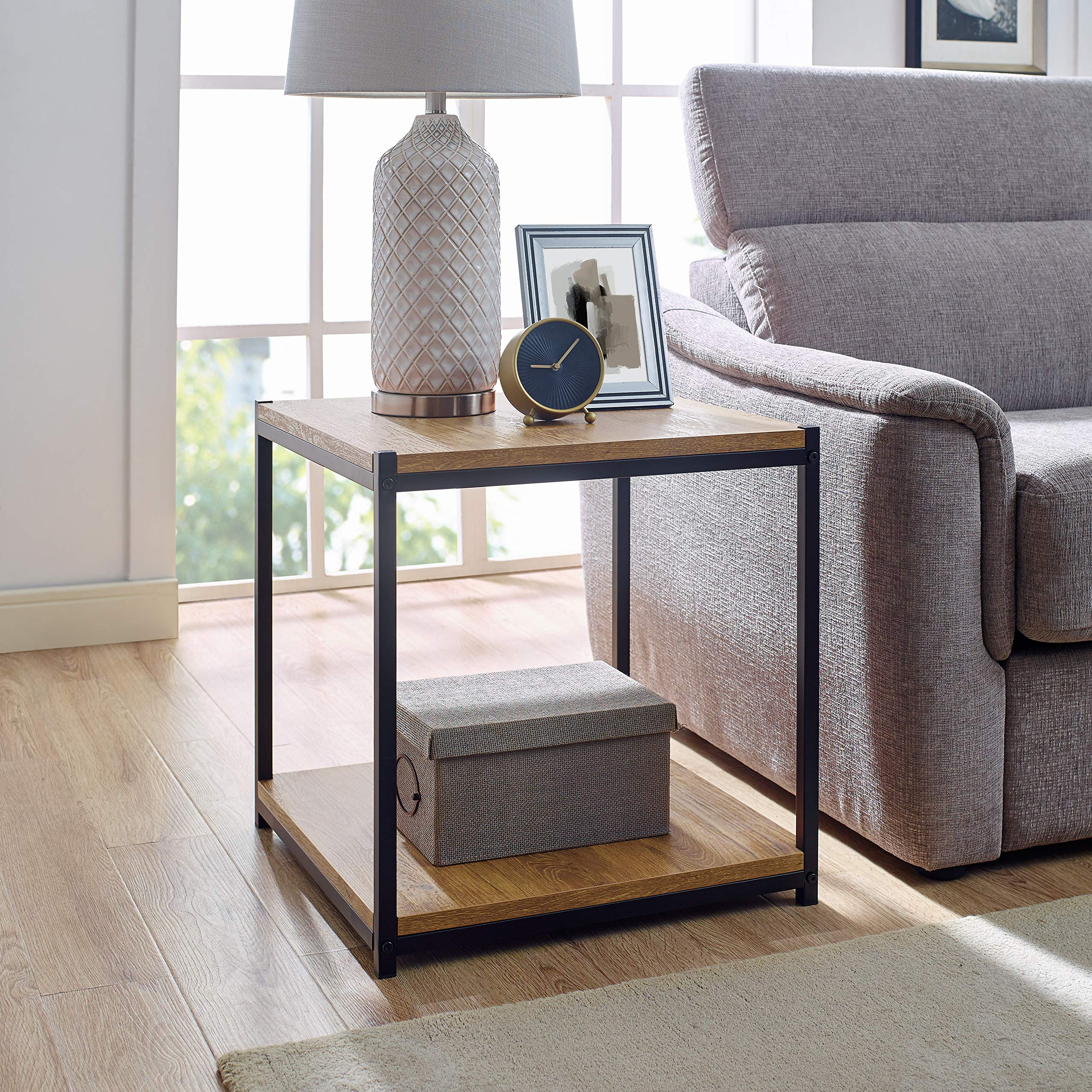 Tall Side End Table by CAFFOZ Furniture Designs |Brooklyn Series | Night Stand | Coffee Table |Storage Shelf | Sturdy | Easy Assembly | Brown Oak Wood Look Accent Furniture with Metal Frame by CAFFOZ Funiture Designs