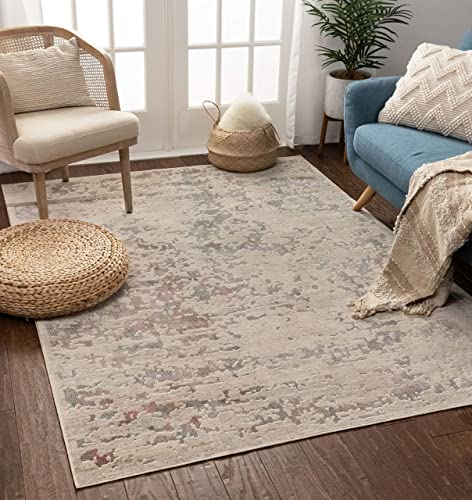 Well Woven Adele Beige Blue Contemporary Abstract Area Rug 3×5 3 7 x 5 3