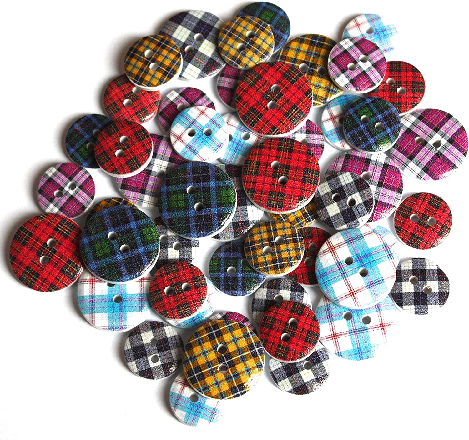 20 X ROUND FOOTBALL PATTERN WOOD MIXED COLOURS BUTTONS-SCRAP BOOKING SEWING
