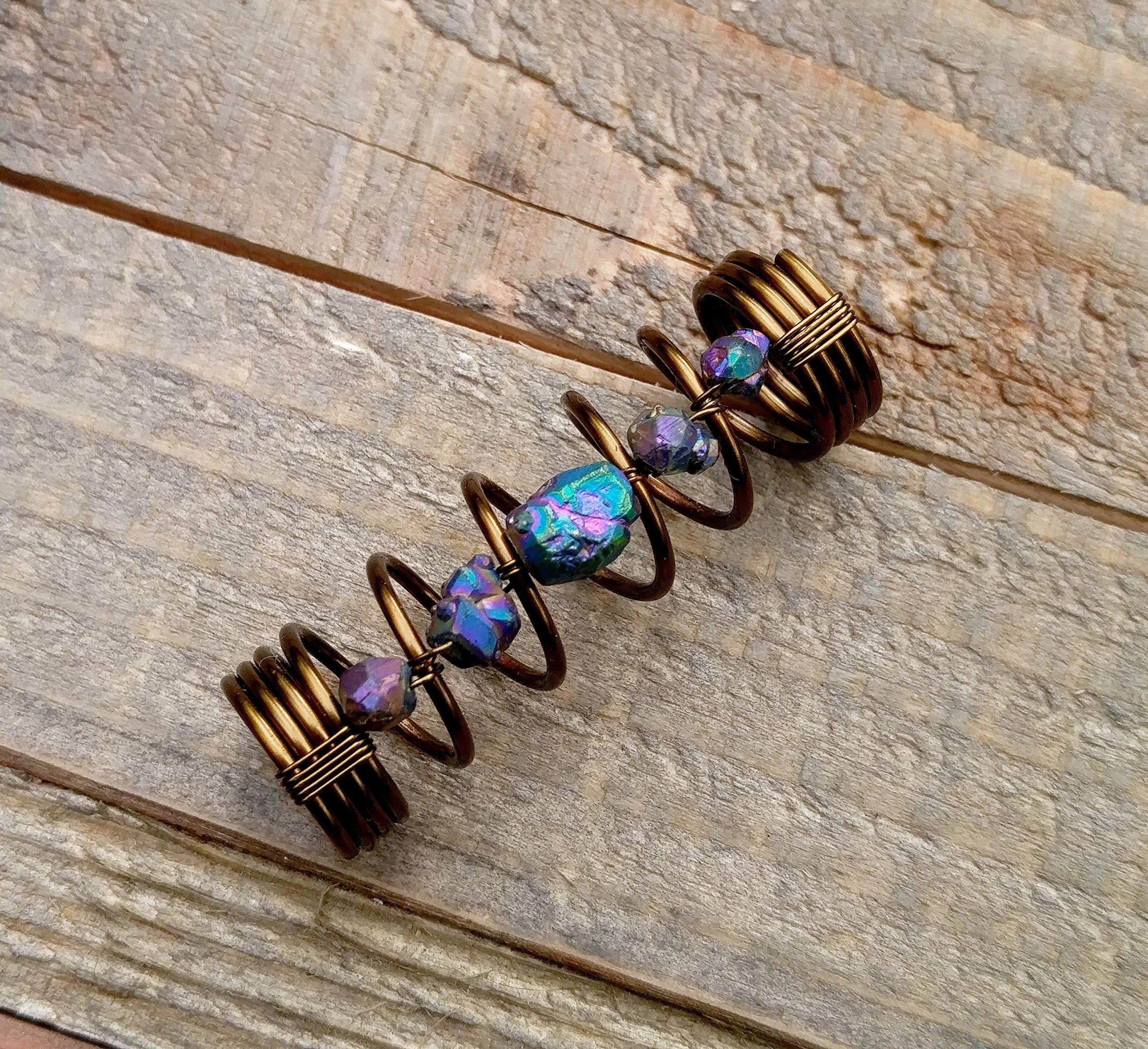 Titanium Quartz, Antique Brass Dread Bead