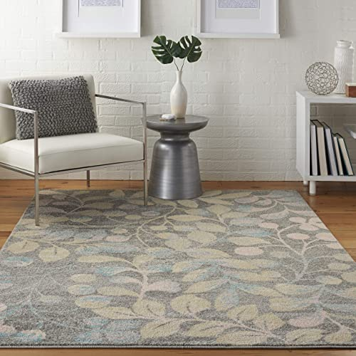 Nourison TRA03 Tranquil Contemporary Botanical Grey/Beige Area Rug 5'3″ X 7'3″