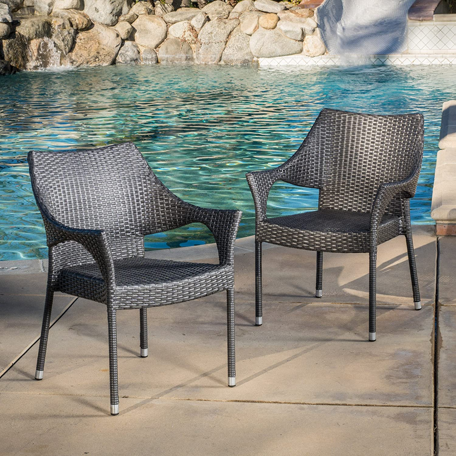 Great Deal Furniture Alameda Outdoor Wicker Chairs Set of 2 Perfect for Patio in Grey