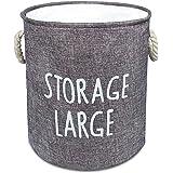 洗濯かご ランドリーバスケット ランドリーボックス 取って付き 撥水 大容量 折り畳み式 オックスフォード 軽量 省スペース 収納ボックス KIGARU(キガル) (44L グレー)