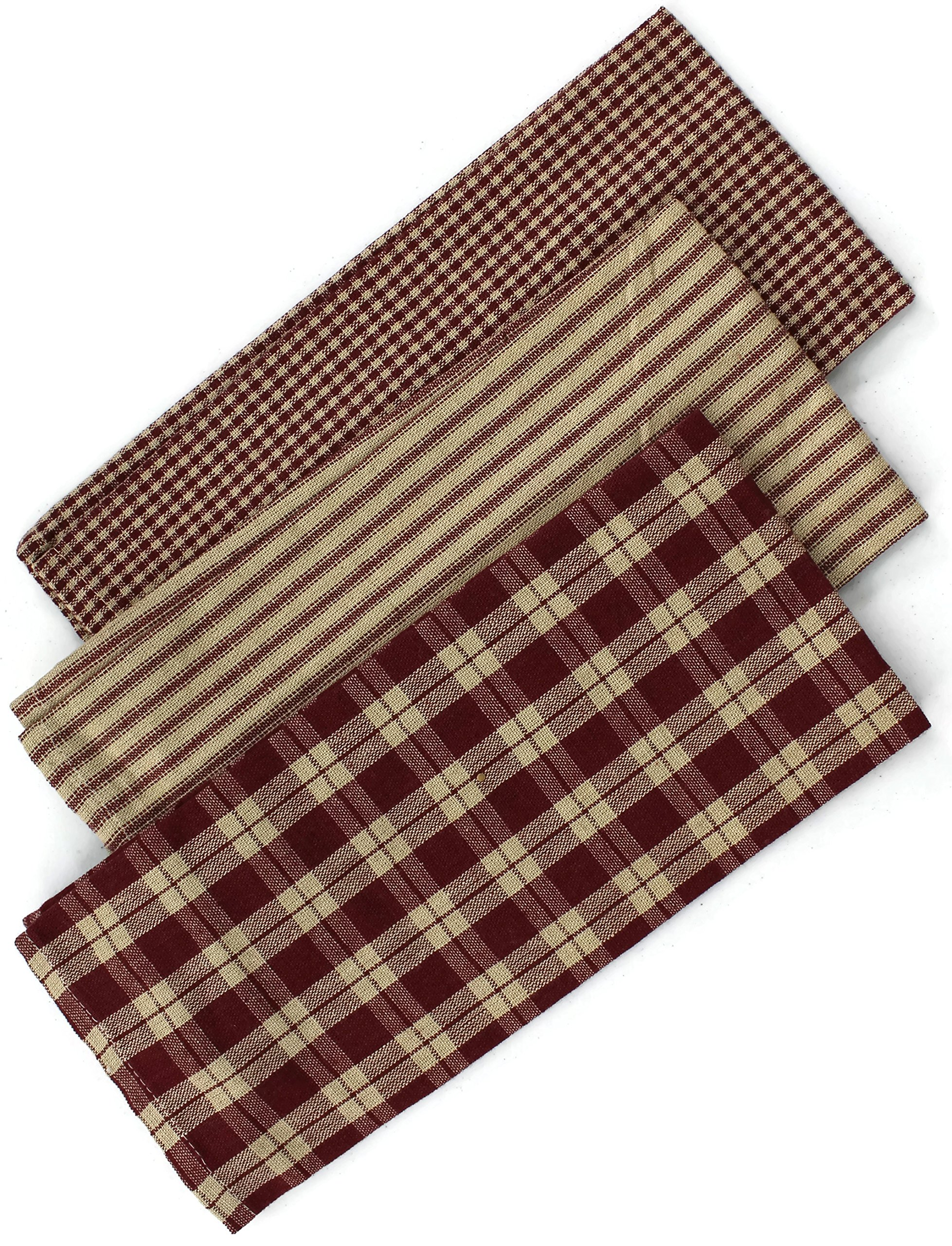Rustic Covenant Woven Cotton Farmhouse Kitchen Tea Towels, 22 inches x 13 inches, Set of 3, Burgundy Red/Natural Tan