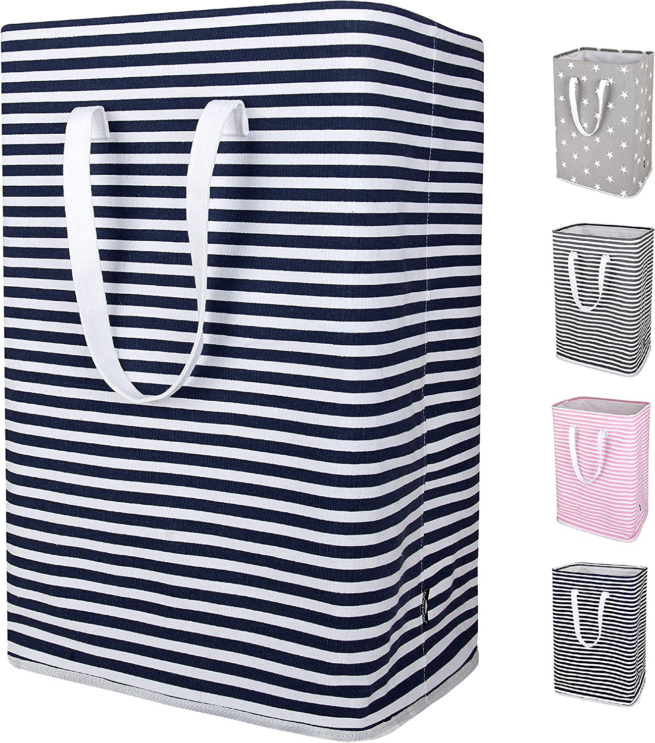 DOKEHOM 24-Inches Thickened X-Large Laundry Basket with Drawstring, Waterproof Square Cube Cotton Linen Collapsible Storage Basket (Blue Strips, XL)