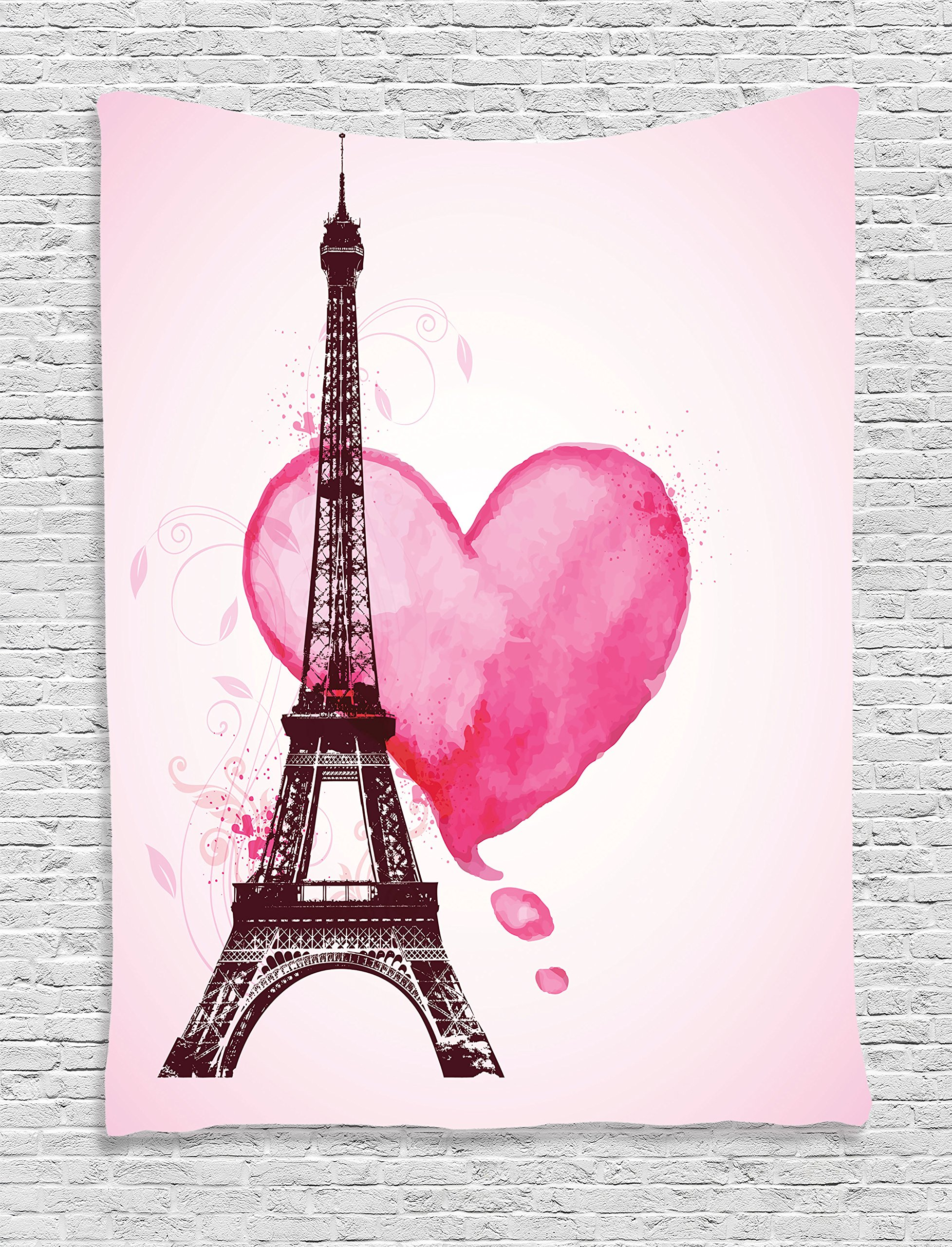 Ambesonne Eiffel Tower Decor Tapestry Wall Hanging by, Eiffel Romantic Valentine Love Watercolor Themed Heart Leaf Silhouette Print, Bedroom Living Room Dorm Decor, 60 W x 80 L Inches, Plum Fuchsia