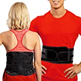 FlexGuard Support Lower Back Support Belt – (M/L) Lumbar Brace w/ Pockets for Heat and Ice Packs - Compression Belts for Hern