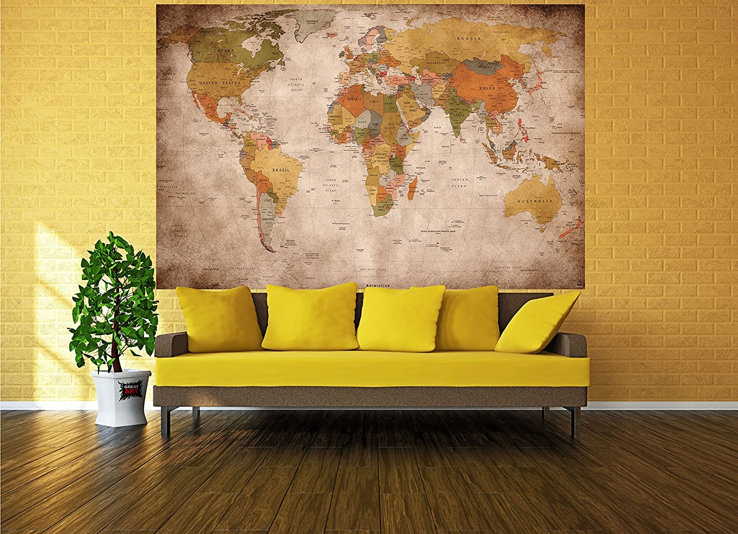 GREAT ART World map vintage poster retro wall art - XXL world map ...