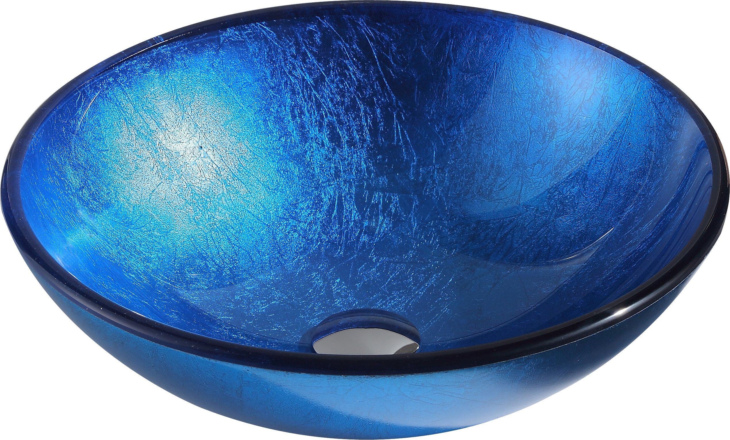 Tempered Glass Vessel Sink - Lustrous Blue - Clavier Series LS-AZ027 - ANZZI