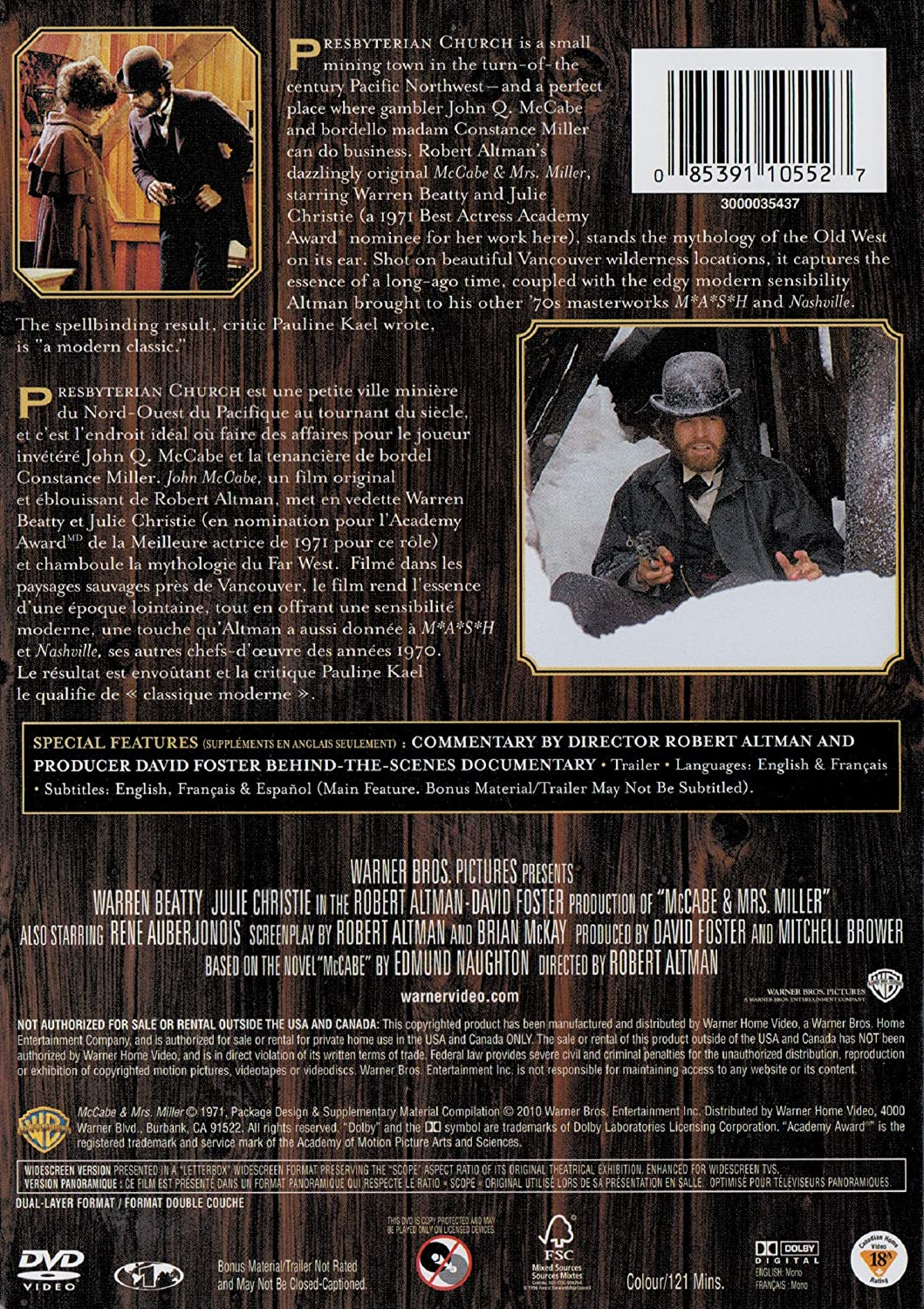Mccabe & Mrs Miller [Reino Unido] [DVD]: Amazon.es: Cine y Series TV