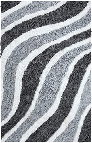 Superior Waverling Shag Indoor Area Rug, Silver, 8 x 10