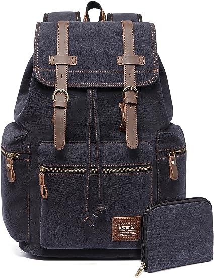 KAUKKO Men/'s Vintage Canvas Backpack Travel Sport Rucksack Satchel School M318