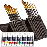 Uberve 2-in-1 Artist Set - 15 Paint Brushes + 12 Acrylic Paint Set – Art Brush Set and Paint for Watercolor, Acrylic, Oil & Face Painting – Acrylic Painting Set