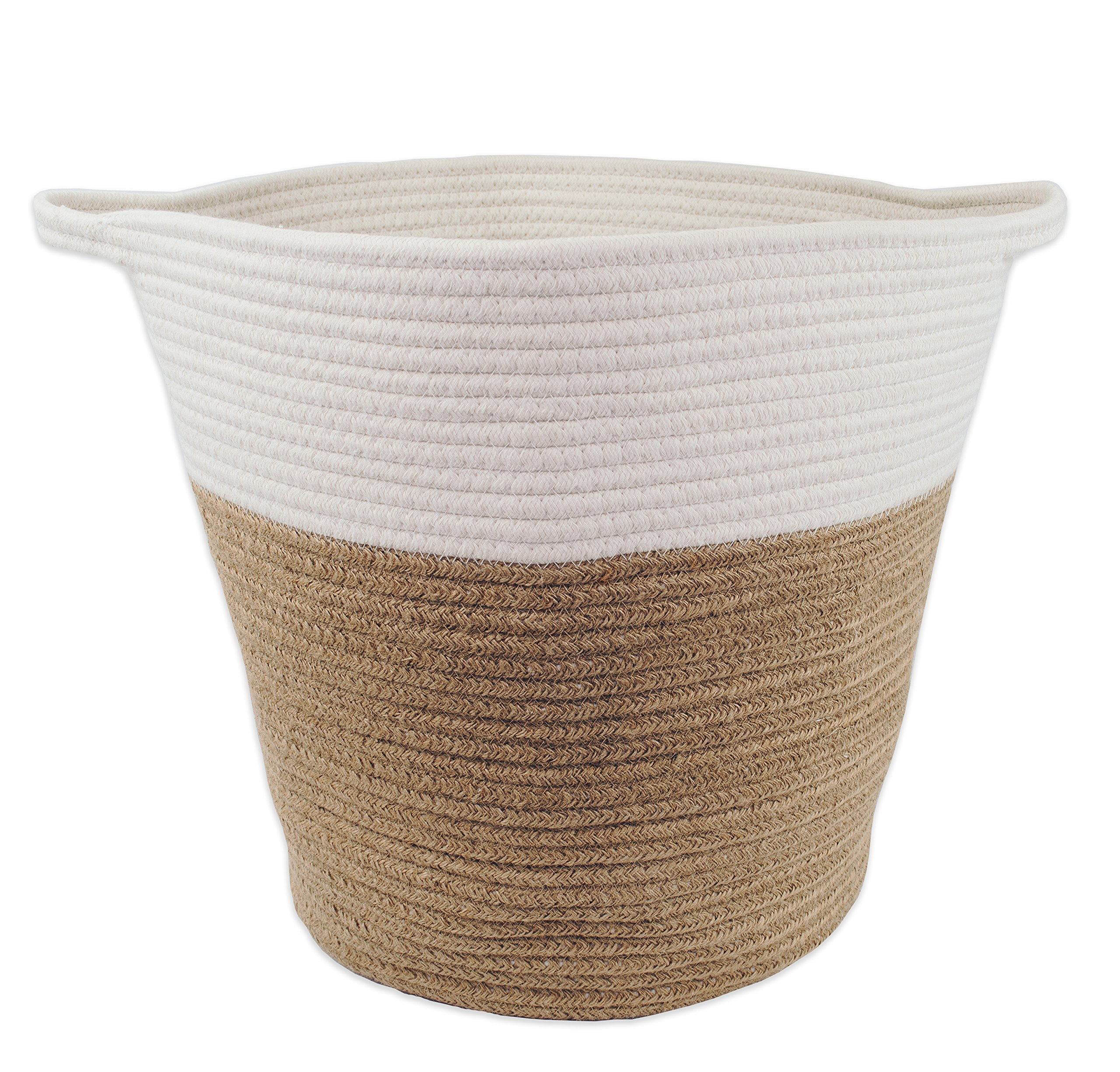 Large Toys Storage Basket for Nursery Or Living Room 16'' x 15'', Jute and Cotton Rope by Monarch Co.