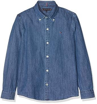 Tommy Hilfiger Boys Blue Stripe Shirt L//S Blusa para Ni/ños