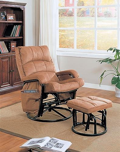 Tan Microfiber Glider Rocker Ottoman – 650005 – Coaster Furniture