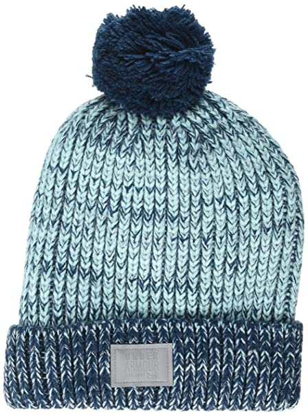 Under Armour Women s Shimmer Pom Beanie (Youth) Blue Infinity True  Ink Silver 85345325e432
