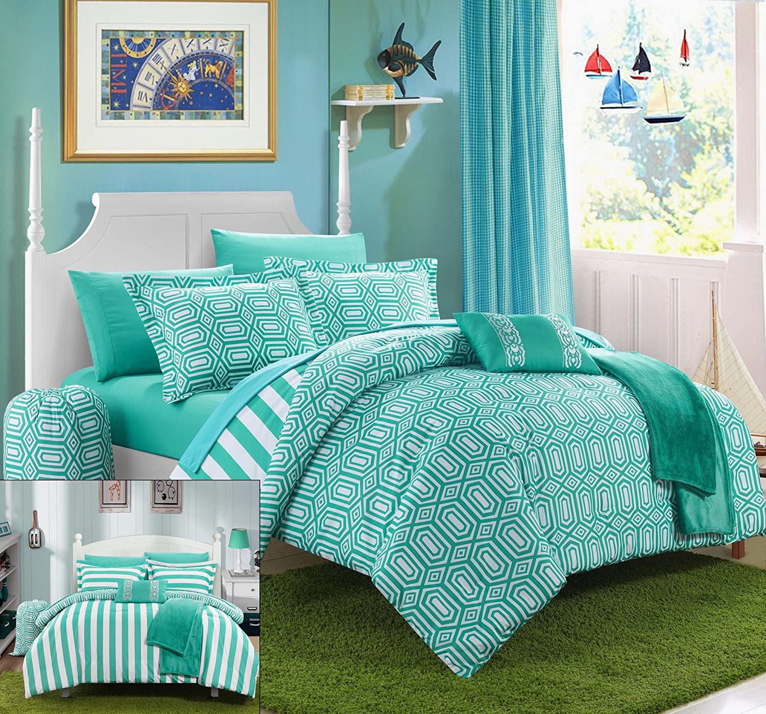 Chic Home 10 Piece Paris Reversible Geometric and Striped Comforter Sheet Set, Full, Aqua