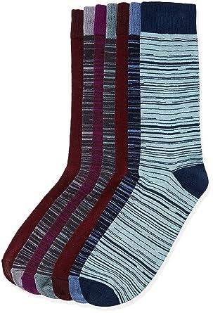 FIND Calcetines de Rayas Hombre, Pack de 7, Multicolor (Multi Coloured),