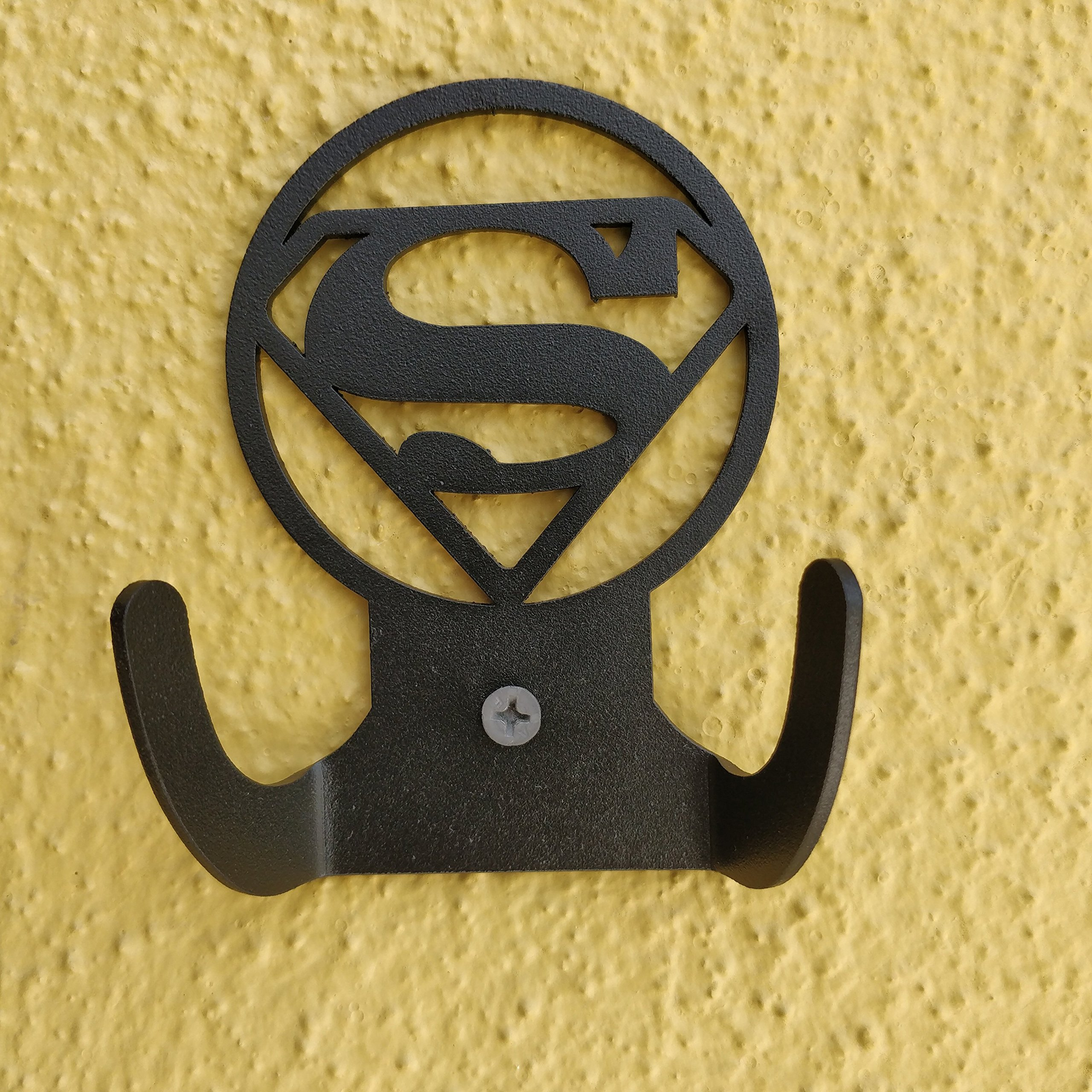 HeavenlyKraft Superman Logo Steel Wall Hook Dual Holder for Living Room Coat Hat Robe Hanger Bathroom Towel Kitchen Strong Heavy Duty Garage Storage Organizer Utensil Hook Single, 4 X 3.14 X 1.4 Inch