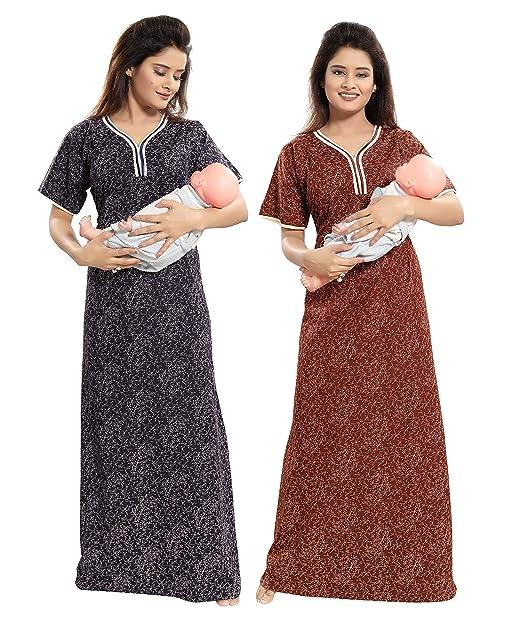 TUCUTE Women Beautiful Print Poly-Cotton Invisible Zip Pattern  Feeding Maternity Nursing Nighty Night Gown Nightwear (Free Size) (Pack of  2 Pcs) Smart Combo fd9767983