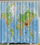 World Map Print Educational Geographical Earth in My Bathroom Direction Ability Ocean Journeys Voyager Novelty Home Decor Fabric Shower Curtain, Blue Green Khaki Brown White