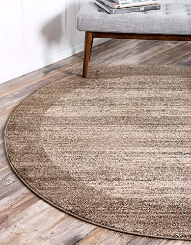 Unique Loom Del Mar Collection Contemporary Transitional Beige Round Rug 8 0 x 8 0