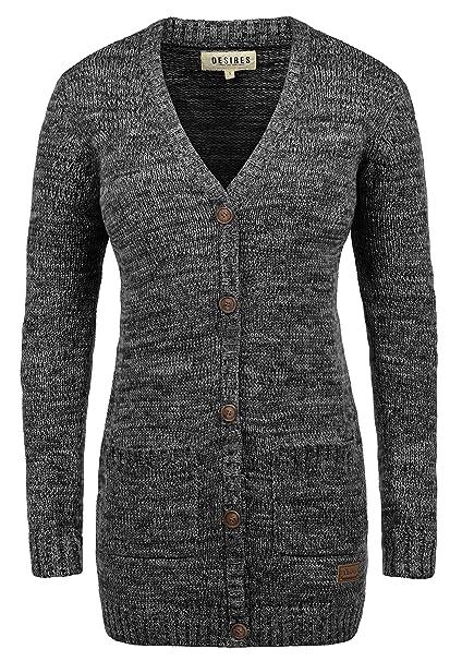 Turnschuhe für billige Mode-Design extrem einzigartig DESIRES Philemona Damen Lange Strickjacke Cardigan Grobstrick  Longstrickjacke mit V-Ausschnitt