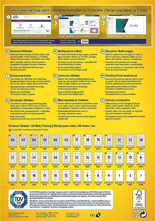 Avery Zweckform 3664 Universal Etiketten A4 Papier Matt 2400