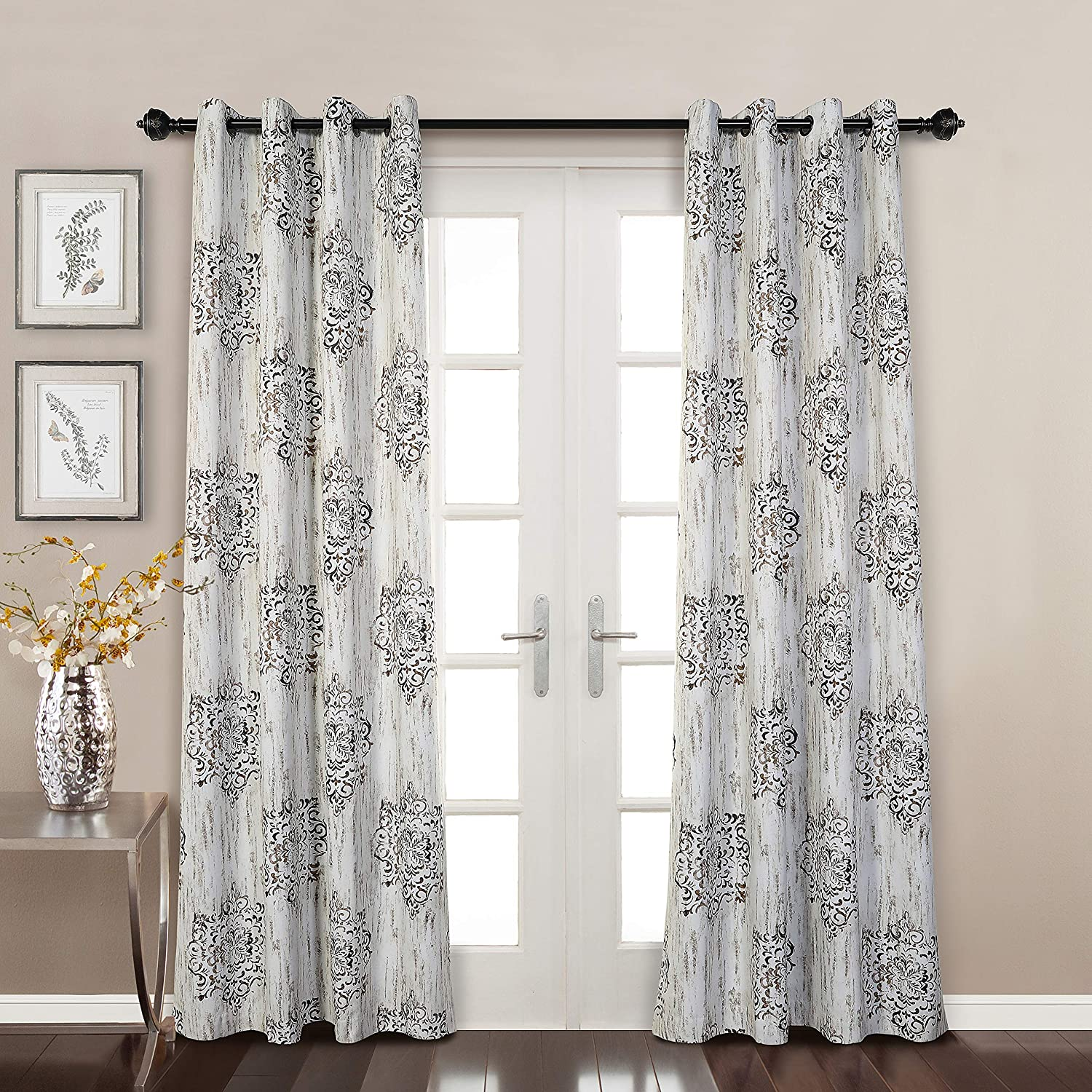 MYSKY HOME Dahlia Flower Damask Style Fashion Design Print Grommet Top Thermal Insulated Blackout Curtains for Living Room 52 by 95 inch, Cafe (1 Panel)