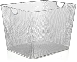 YBM HOME Household Wire Mesh Open Bin Shelf Storage Basket Organizer for Kitchen, Cabinet, Fruits, Vegetables, Pantry Items Toys 1182s (1, 15 x 12 x 10.8)