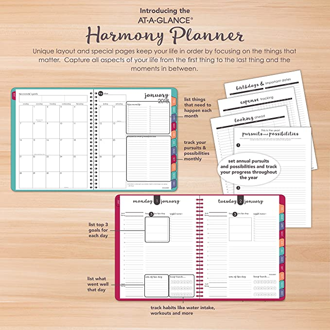 amazon com at a glance daily monthly planner january 2018
