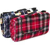 Signature Leisure Red Tartan or Blue Check Large 150x180cm Fleece Picnic Blanket with Waterproof Backing - Lightweight Compact Picnic Travel Rug - Baby Crawling or Child Play Mat (Red)