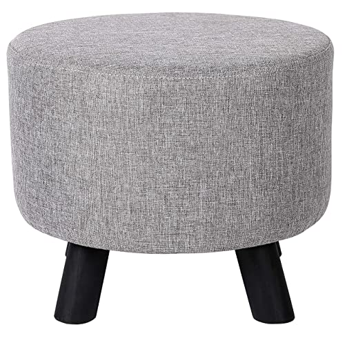 BIRDROCK HOME Grey Linen Foot Stool Ottoman Soft Compact Round Padded Seat – Living Room, Bedroom and Kids Room Chair Black Wood Legs Upholstered Decorative Furniture Rest Vanity Seat