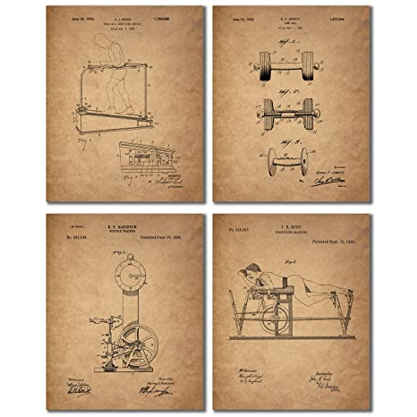 Workout Patent Prints Set Of 4 Gym Decor Wall Art Photos Weight Lifting Exercise Treadmill