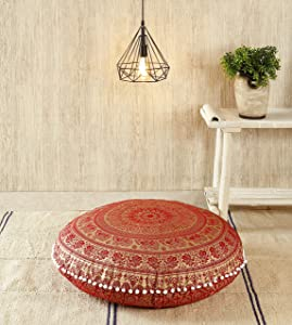 "Popular Handicrafts Large Hippie Mandala Elephant Floor Pillow Cover - Cushion Cover - Pouf Cover Round Bohemian Yoga Decor Floor Cushion Case- 32"" Red Gold"