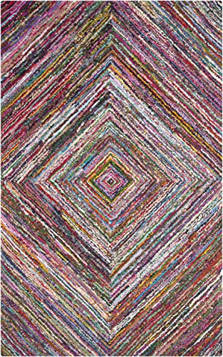 Safavieh Nantucket Collection NAN513A Handmade Abstract Multicolored Cotton Area Rug