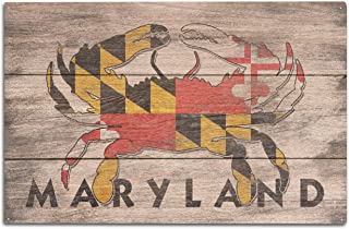 product image for Lantern Press Maryland - Rustic State Flag - Crab (10x15 Wood Wall Sign, Wall Decor Ready to Hang)