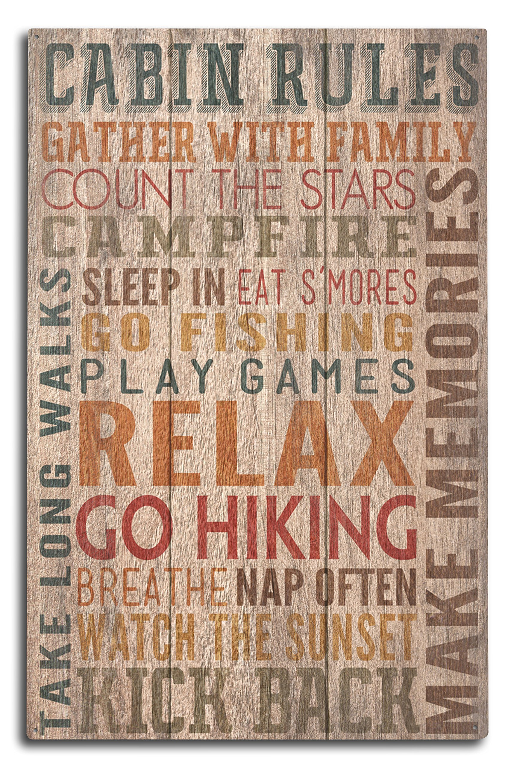 Lantern Press Cabin Rules - Rustic Typography (10x15 Wood Wall Sign, Wall Decor Ready to Hang)
