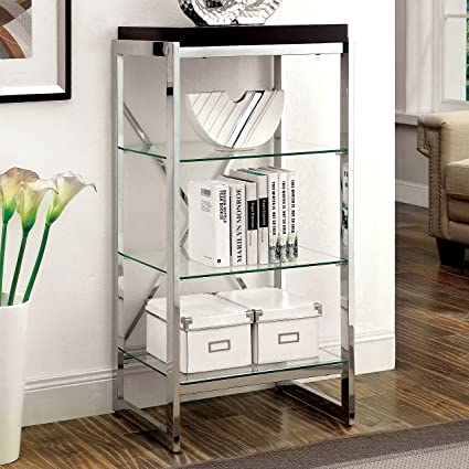Bookshelf U Shaped Chrome Frame With 3 Clear Glass Shelves And Espresso Finish Wood