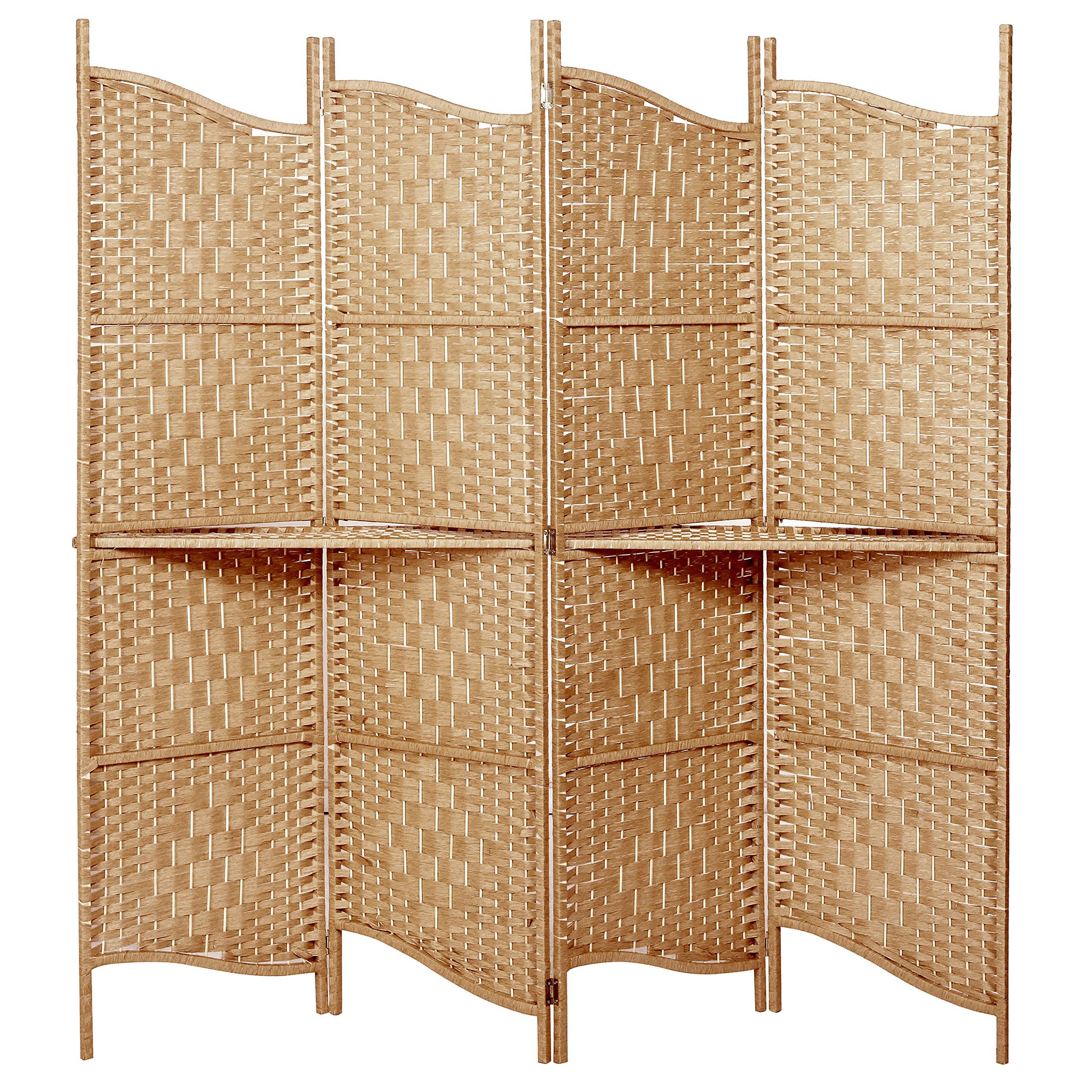 Freestanding Brown Wood Woven Paper Rattan Room Divider 4 Panel