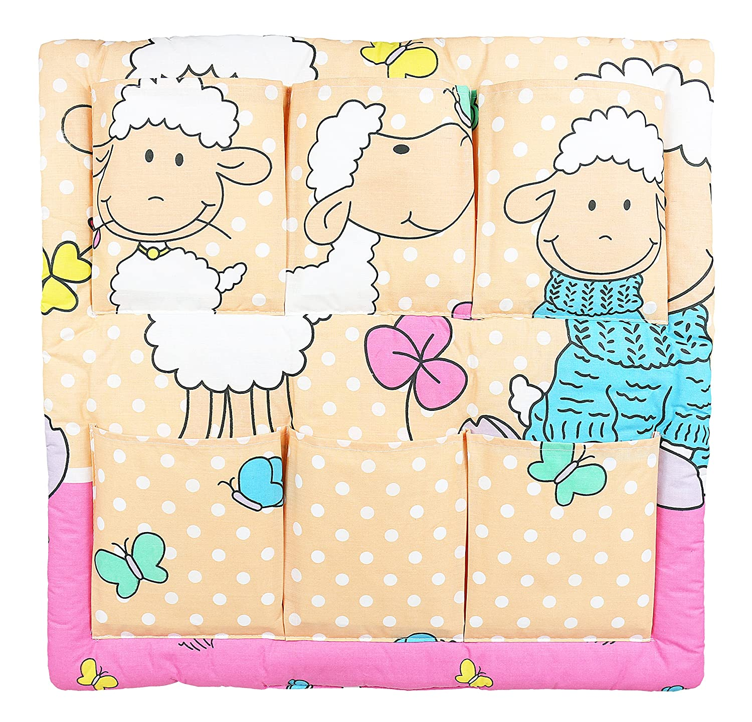 SHEEP TURQUOISE COT TIDY ORGANISER COT BED NURSERY HANGING STORAGE MANY DESIGNS 6 POCKETS BABYMAM