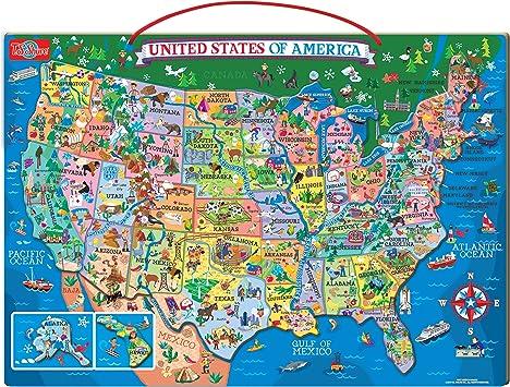 T.S. Shure de Madera magnético Mapa de los Estados Unidos Puzzle: Amazon.es: Juguetes y juegos