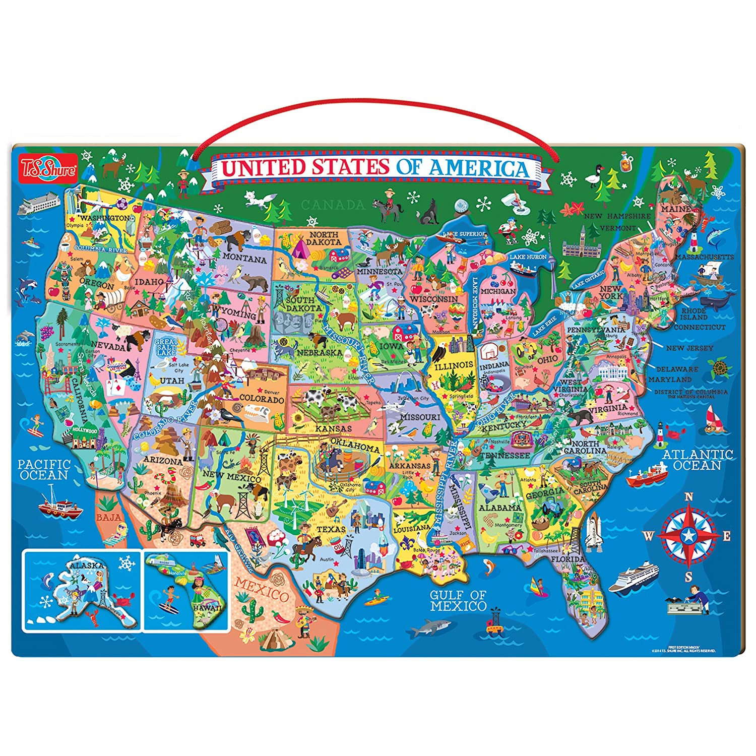 Springfield Usa Map.Amazon Com T S Shure Wooden Magnetic Map Of The Usa Puzzle Toys