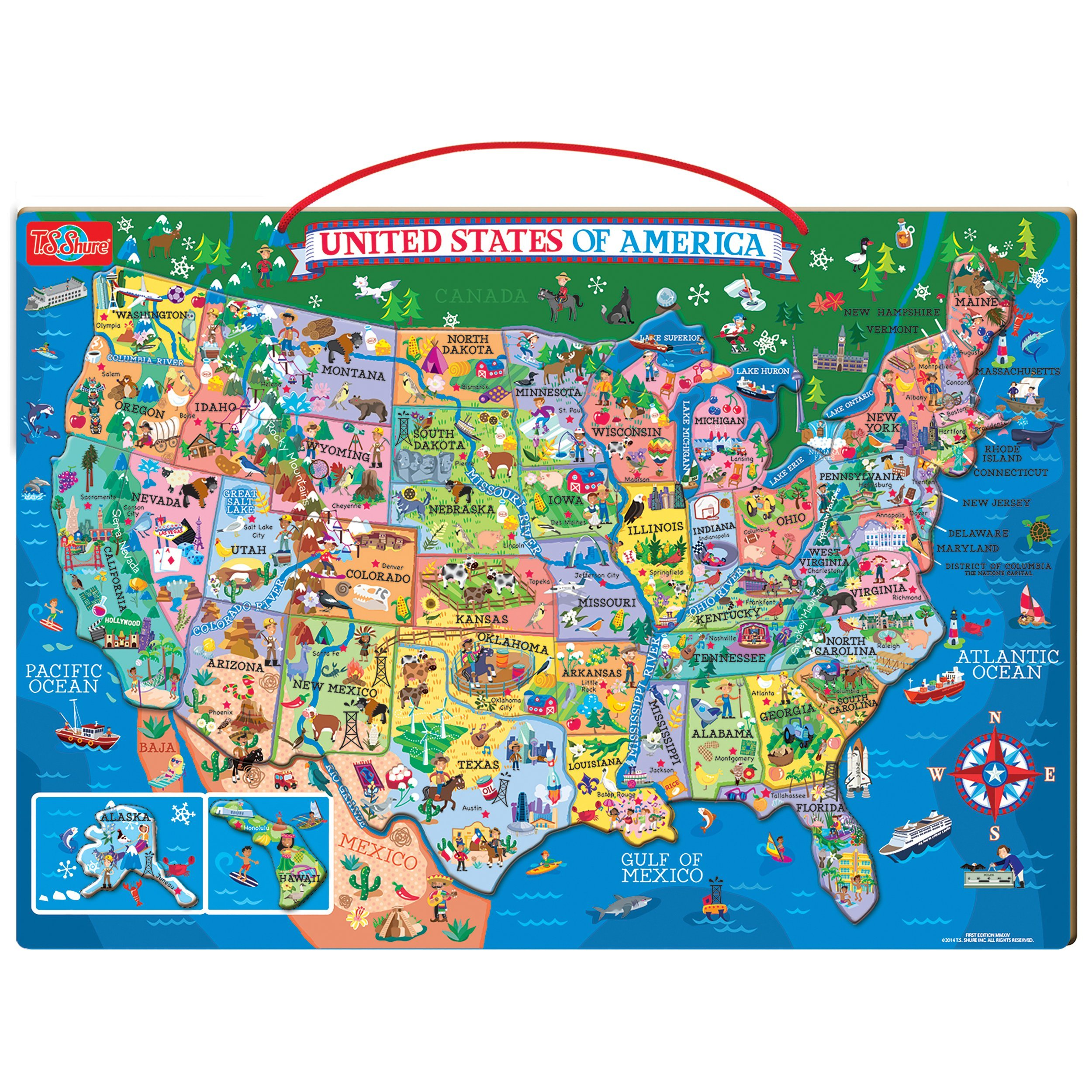 T.S. Shure Wooden Magnetic Map of The USA Puzzle